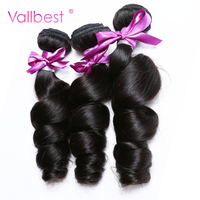 Vallbest Brazilian Loose Wave Hair Bundles Natural Black Color 100 Human Hair Weave 100g Piece Can