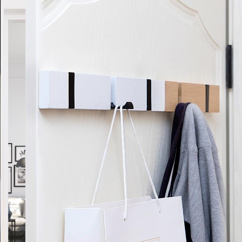 Image 4 - Nordic Fashion Home Decor Nailless Folding Coat Hook Hallway Bedroom Door Hat Clothes Rack Hanger Kitchen Toilet Wall Brack Hook-in Coat Racks from Furniture