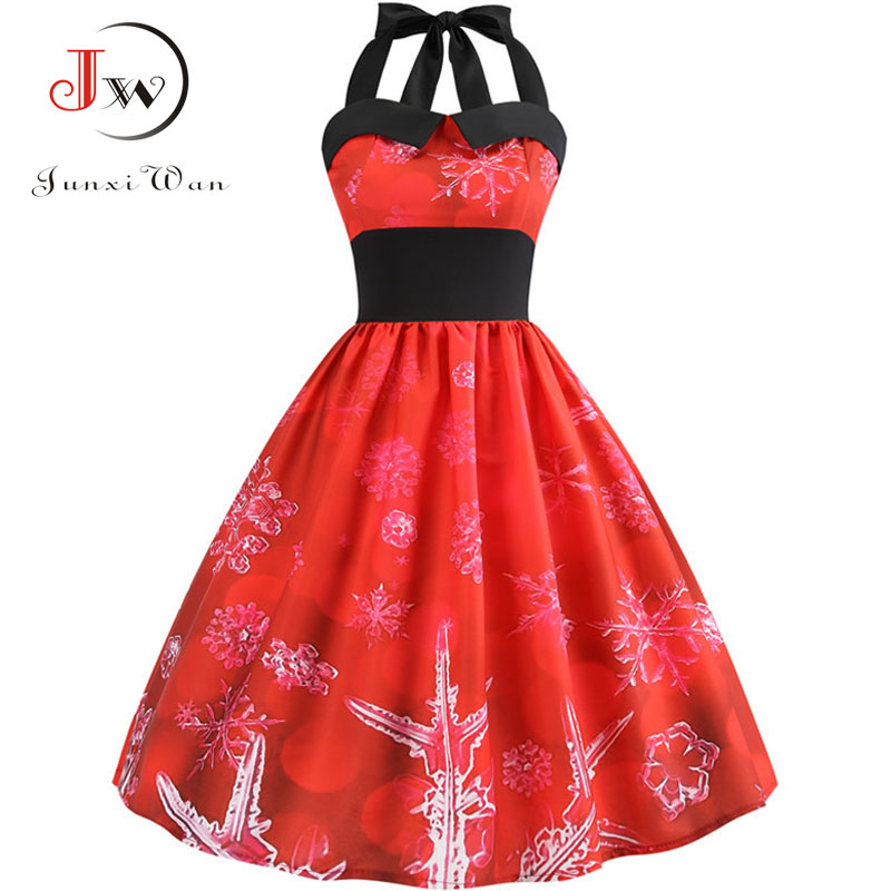 Women Halter Print Vintage Dresses Plus Size Snowflake Christmas Party Sundress Rockabilly Swing Midi Vestidos