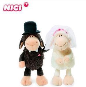 35cm/50cm Germany NICI Lovers sheep creative wedding ornaments gift couple dolls white bride /black bridegroom plush toys 1pcs(China)