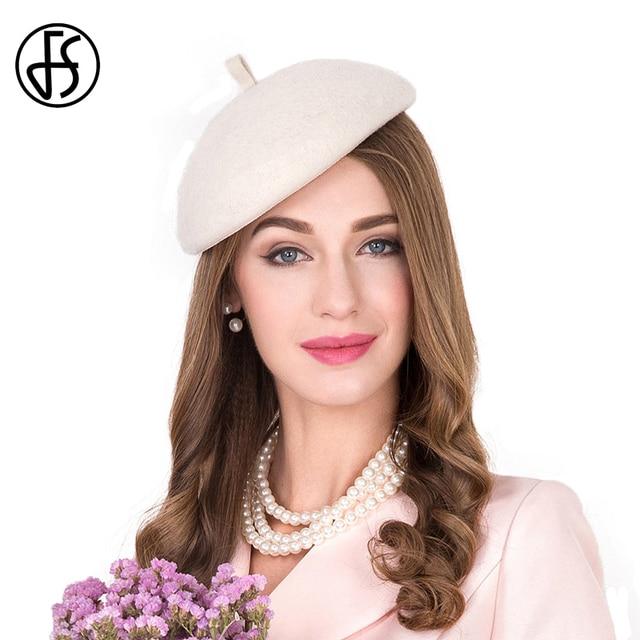 FS Elegant Beige White Felt Hat Women Fascinator Beret Winter Boinas  Femininas French Ladies Wool Berets Baret Boinas Para Mujer bce00b5036a