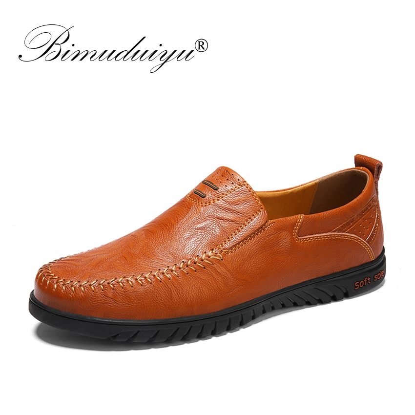 BIMUDUIYU Fashion Casual Driving Shoes Leather Loafers Men Shoes Summer spring Breathable Moccasins Mens Slip-On  Black Shoes bimuduiyu new england style men s carrefour flat casual shoes minimalist breathable soft leisure men lazy drivng walking loafer