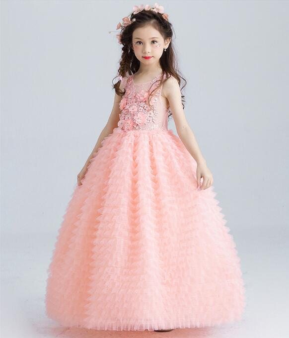 Image 2 - Luxury Pink Tulle Flower Girl Dress Kids Wedding Dress Ankle Length Appliques Bead Kids Party Prom Dress First Communion Dresses-in Dresses from Mother & Kids