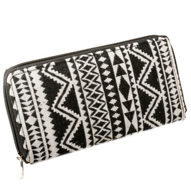 Bohemia Woven Boho Long Women Wallet National Wind Printing PU Leather Wallet Ladies Clutch Female Purse Woman Carteira Feminino