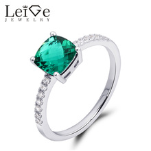 Leige Jewelry Cushion Cut Emerald Ring Green Sterling Silver Wedding Promise Rings for Women May Birthstone Prong Setting