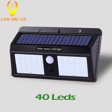 цена на 20/40 Led Power Solar Light lamp for Garden decoration PIR Motion Sensor for Outdoor Street Wall lights Nightlight Waterproof