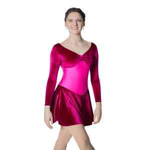 Black,Gray,Red,Purple,Royal Blue Long Sleeve Velvet Ballet Dance Leotard Dress for Ladies and Girls