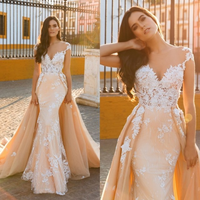 Pretty Peach Mermaid Wedding Dress 2017 With Detachable Train Casamento Lace Flower Bridal Gowns Overskirt