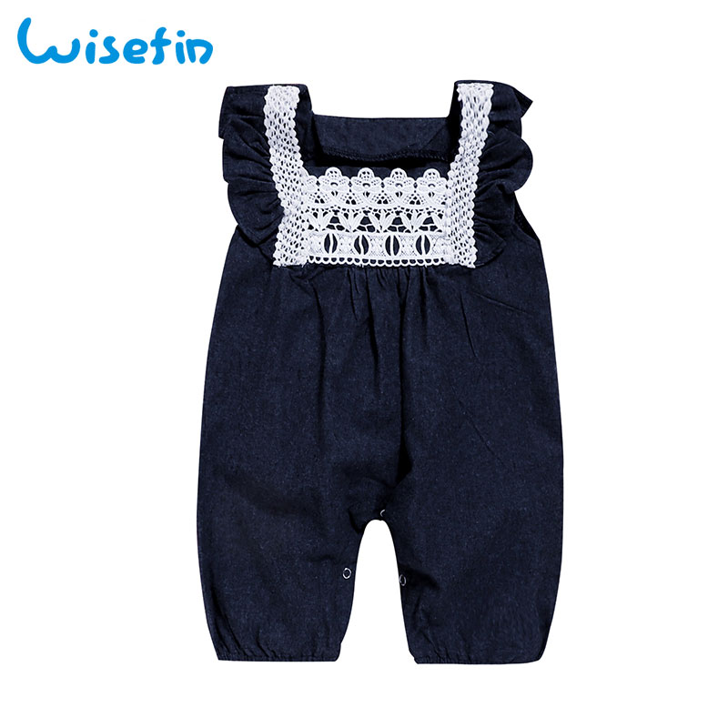 c492a3f4f91 Wisefin Baby Girls Romper Denim Overalls Newborn Clothes Lace Rompers Baby  Girl Summer Clothing Ruffle Outfits Baby Jumpsuits-in Rompers from Mother    Kids ...