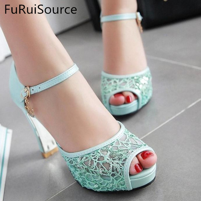 free shipping amazon Sweet white gauze word strap sandals in the summer of new female waterproof thick with high heels FuRuiSource buy cheap excellent outlet geniue stockist online cheap sale low shipping o4fT7a9v7b