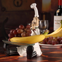 Creative Resin And Glass Chef Figurine Fruits and Candies Plate Decorative Cook Statue Tray Tableware Ornament Craft Accessories