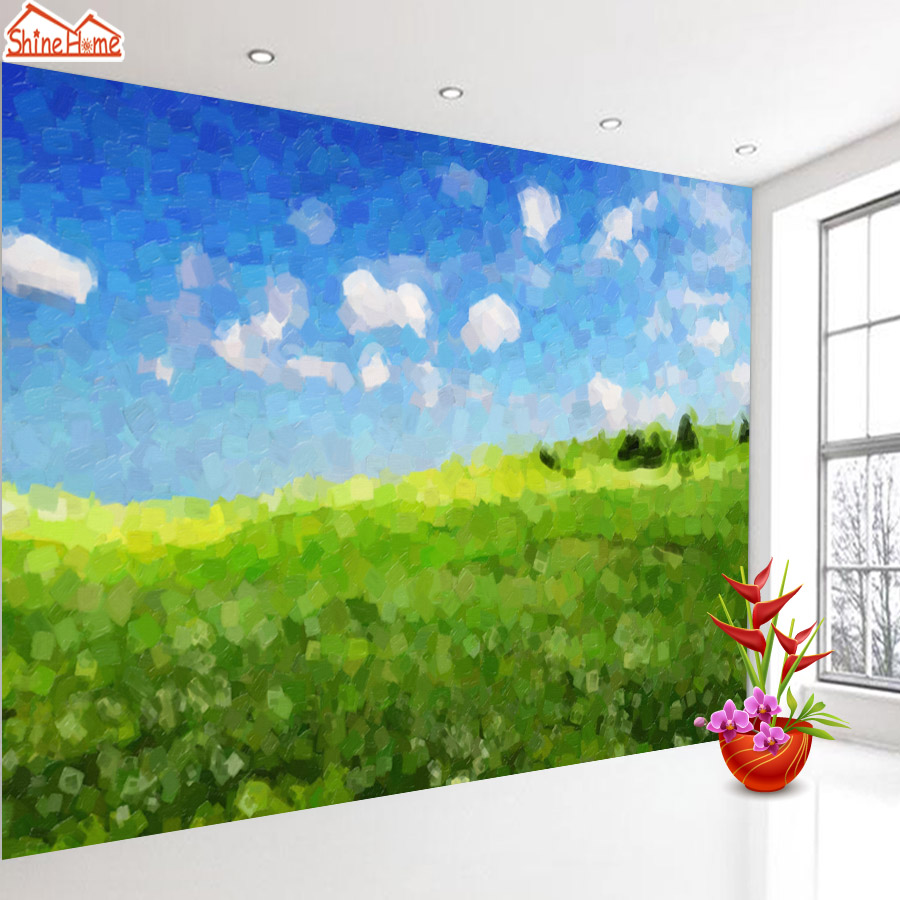 ShineHome-Grasslands Nature 3d Room Photo Wallpaper for Walls 3 d  Living Room Wallpapers Mural Roll Wall Paper Home Decoration shinehome lamp bulb in water art 3d wallpaper wallpapers photo walls murals for 3 d living room still life home roll wall paper