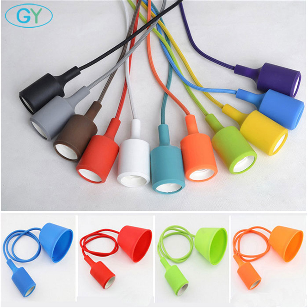Colorful Silicone Pendant Lights E27 Holder Modern DIY Design hanging Lamps Ceiling Base ...