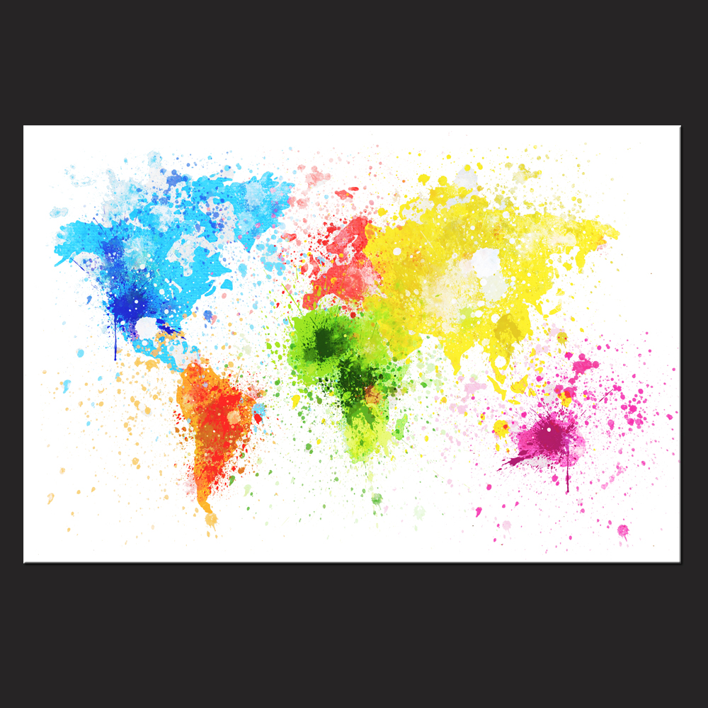 Large watercolor canvas art prints picture world map wall painting large watercolor canvas art prints picture world map wall painting for living room colorful map artwork office room decor in painting calligraphy from gumiabroncs Gallery