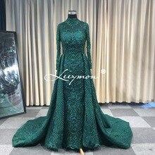 Leeymon תפור לפי מידה 2020 מוסלמי חתונת שמלת חצוצרה ארוך שרוולים כבדים חרוזים כלה שמלת להסרה חצאית Vestido דה Novia
