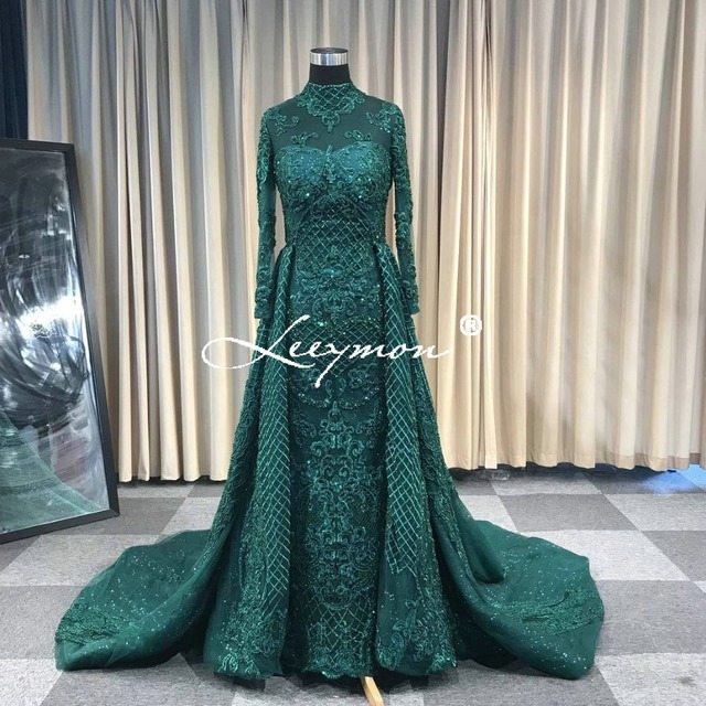 Leeymon Custom Made 2019 Plus Size Trumpet Long Sleeve Sexy Backless Deep V Neck Beads Sequins Mermaid Evening Dress