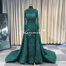 Leeymon Custom Made 2020 Muslim Wedding Dress Trumpet Long Sleeves Heavy Beaded Bridal Dress Detachable Skirt Vestido de Novia
