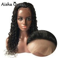 Natural Look 130% Density Full Lace Wig Black Long Indian Remy Hair Curly Guleless Lace Wig With Baby Hair For Black Women