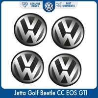 4 sztuk/zestaw 56mm Logo znaczek z symbolem piasty kołpaka koła centralnego dla VW Volkswagen Jetta Golf beetle cc EOS GTI 1J0 601 171