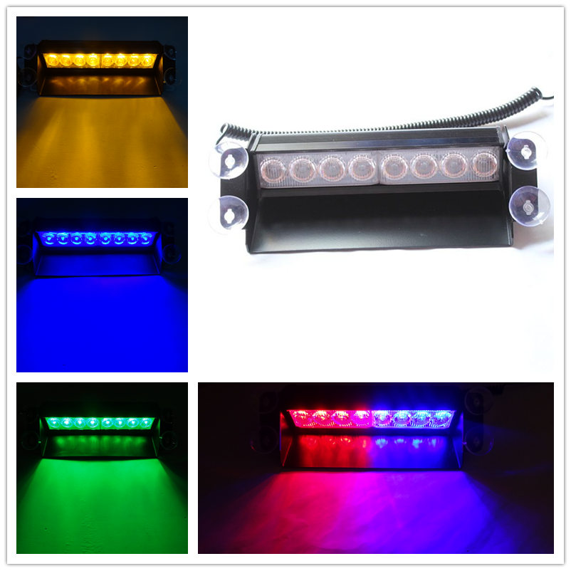 Universial Vehicle Bright 8 LED Strobe Flash Light Red Blue Green Yellow Dash Emergency Light Warning Signal Flashing Fog Lights