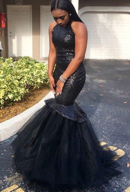 Sequins African Evening Dress Black Mermaid Prom Dresses Plus Size ...