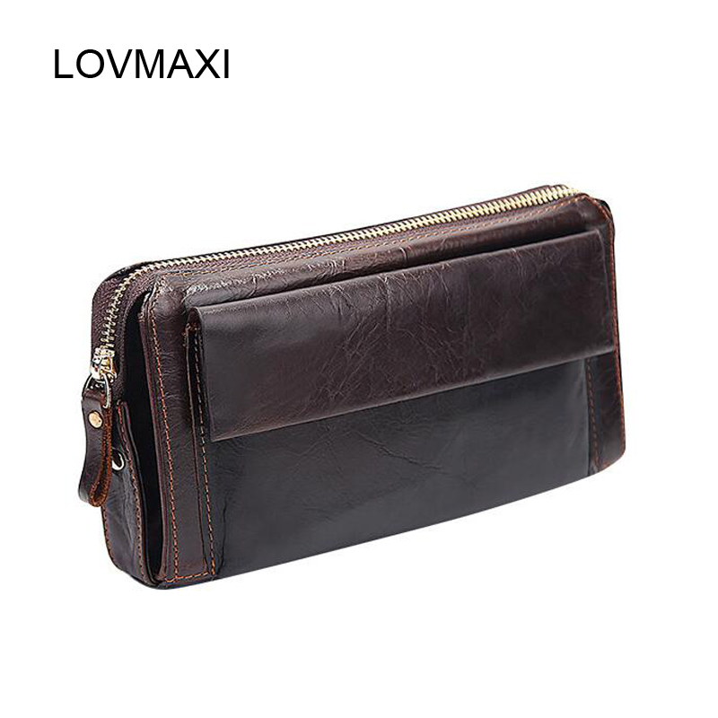 LOVMAXI Natural Cow leather male wallets Large capacity long zipper around clutch bags Men's wallet Casual style coffee Purses