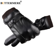 BUTTERMERE Black Leather Gloves Mens Winter Driving Women Fleece Touch Screen Solid Short Brand Warm Motorcycle Mittens