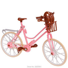 Beautiful Bicycle Detachable Outdoor Toys Plastic Pink Bike With Basket And Brown Helmet Accessories For Barbie Doll Kids Toys-in Dolls Accessories from Toys & Hobbies on AliExpress