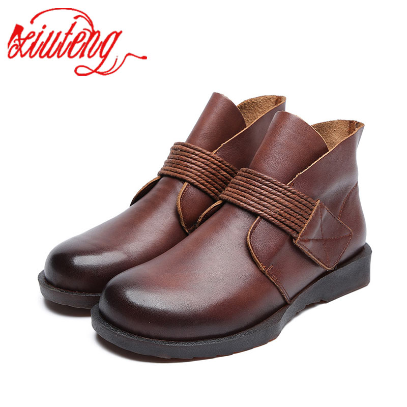 Xiuteng  Comfortable Soft Genuine Leather Spring Boots 2019 Fashion Sewing Women Ankle Boots Casual Flat Shoes Female Snow Boots-in Ankle Boots from Shoes    1