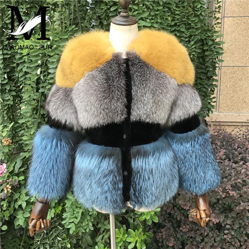 Femmes D'hiver Renard Fourrure Veste Naturel Silver Fox Manteau De Fourrure des Femmes de Haute Qualité Dames Réel Manteau De Fourrure