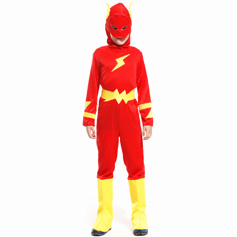 New Kids The  Flash Cosplay Barry Allen Costume Children Super hero boy clothes Carnival Christmas Purim parade Masquerade party super hero boys halloween cyclops performance costume superhero jumpsuit for children masquerade stage party costume