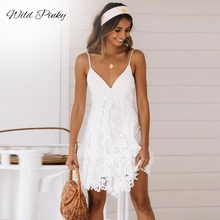 WildPinky Sexy White Dress Women Spaghetti Strap Lace Mini Dress Deep V Backless Lace Up Clubwear Party Beach Dresses Vestidos цена 2017