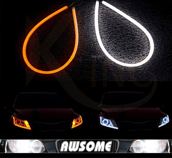 2x 60cm DRL Flexible LED Tube Tear Strip Style Car Headlight Light Amber/White For 350Z 370Z Altima Armada Cube  Frontier GT-R 2pcs 12v car drl led daytime running light flexible tube strip style tear strip car led bar headlight turn signal light parking