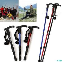 Adjustable Cane Pole Anti-Shock Hiking Walking Stick Trekking Crutches
