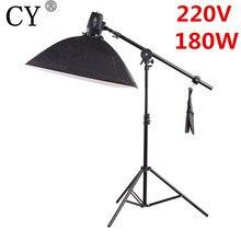 CY Photography Soft Box Flash Lighting Kits 220V 180ws Storbe Flash Light+Softbox+Stand+Boom Arm Godox K-180A Photo Studio Set