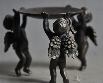 004282 China Folk Collect old Bronze Cupid Angel Wing Candlesticks Menorah Plate Statue