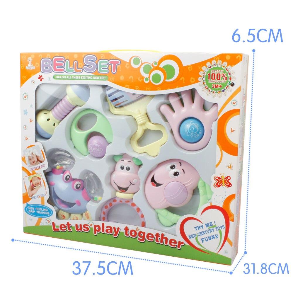 Купить с кэшбэком 7 PCS Mixed in Box Baby Rattles Teether Set Early Development Toys 0-12 Months