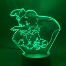 Novelty Lights 3D Lamp Dumbo Touch Sensor Home Decor Kids Girl Boys Child Gift Baby Bedroom Atmosphere LED Night Light Elephant