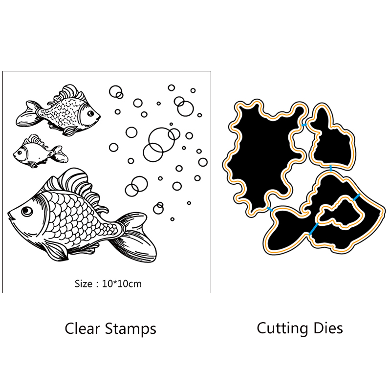 AZSG Lifelike Goldfish Bubble Cutting Dies Clear Stamps For DIY Scrapbooking/Card Making Decorative Silicone Stamp Crafts