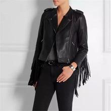 2016 New Autumn winter fringed faux PU leather tassels sleeve back zippers women Motorcycle Jacket coat black