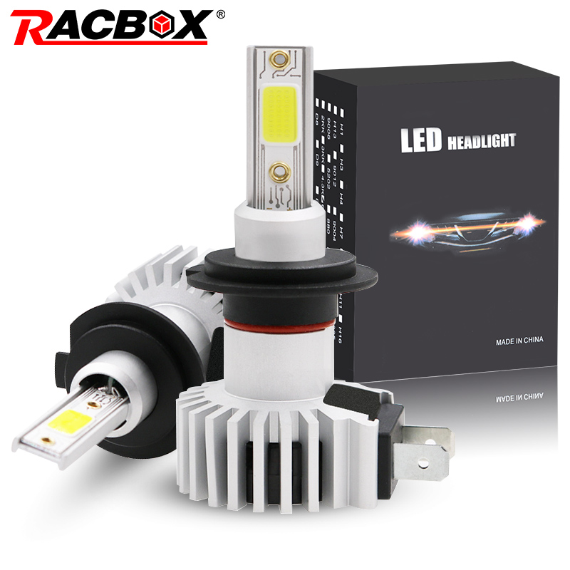 Racbox 2X Led Car Headlight 72W H1 H11 H3 H7 H8 H4 H27 880 881 9005 HB3 9006 HB4 Mini Bulbs 3000K 6000K 10000K Mini Lamp 12V 24V