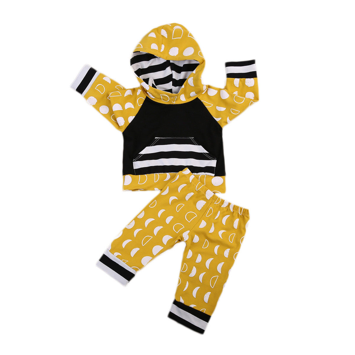 2PCS Baby Clothes Set Cotton Newborn Kids Baby Outfits Boy Girl Hooded Tops+Print Pants Clothing Sets Yellow Autumn
