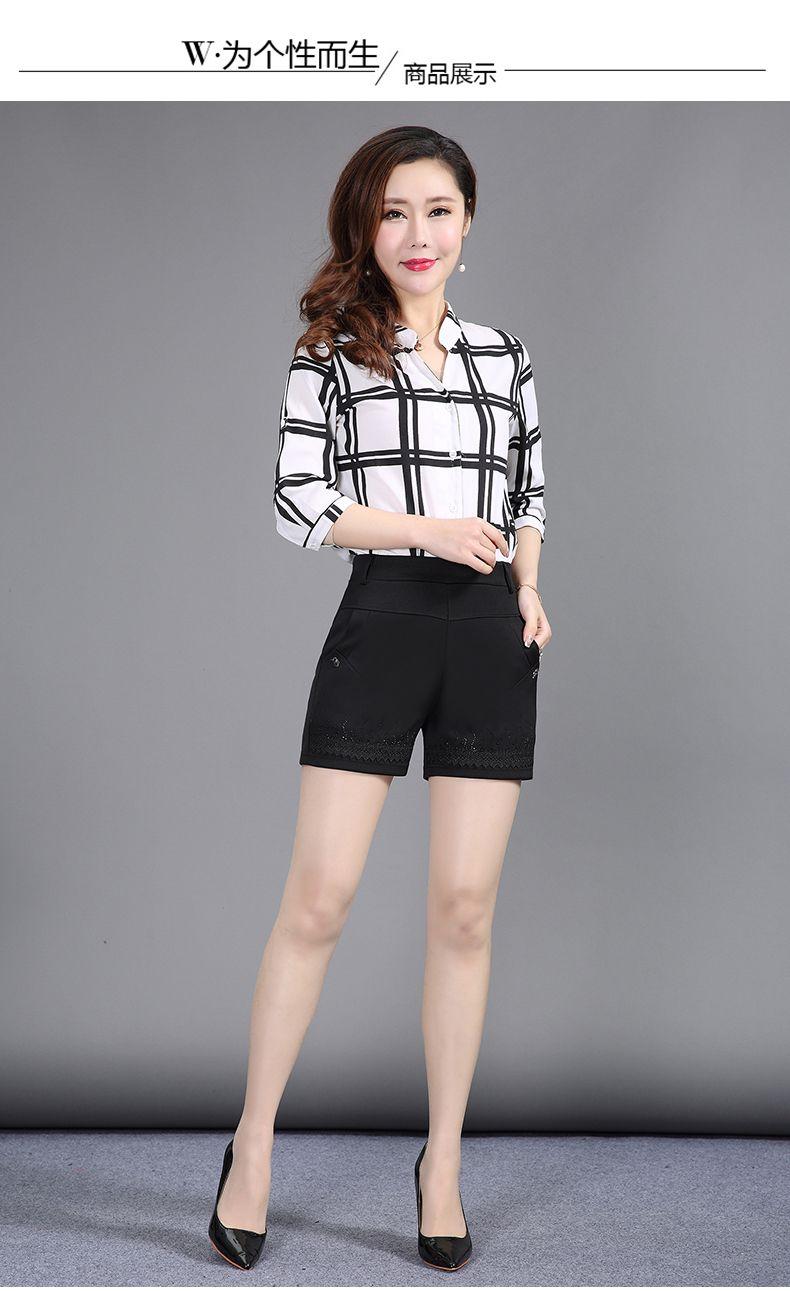Women Summer Shorts Black Elastic Band Waist Short Pants Woman Casual Pantalones Cortos Mujer Slim Fit Shorts 4XL 3XL 2XL (11)