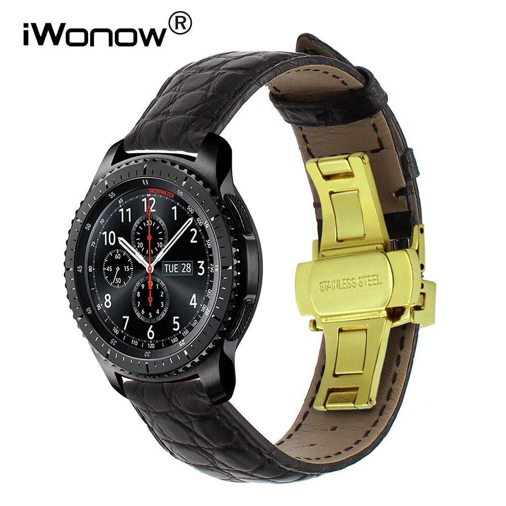 Bracelet de montre en cuir véritable Alligator pour Samsung Gear S3 Bracelet de montre frontière classique Bracelet de fermeture rapide Bracelet fermoir papillon
