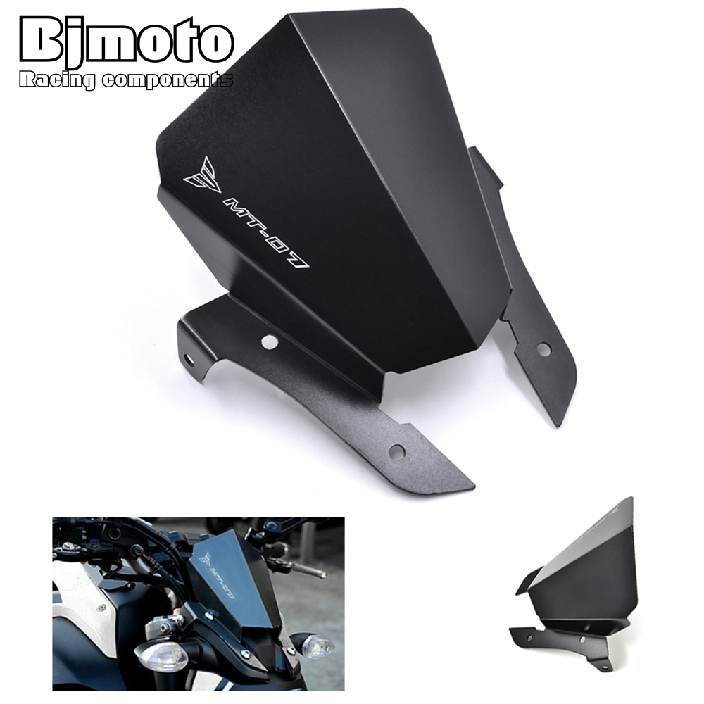BJMOTO New MT-07 MT 07 Motorcycle Aluminum Motorbike Windshield Windscreen For Yamaha MT07 2013 2014 2015 2016 2017 Black
