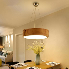Nordic  Circular Solid Wood Dining Room Lights Creative Personality LED Bedroom Ceiling /  Pendant Type  Lamp Free Shipping