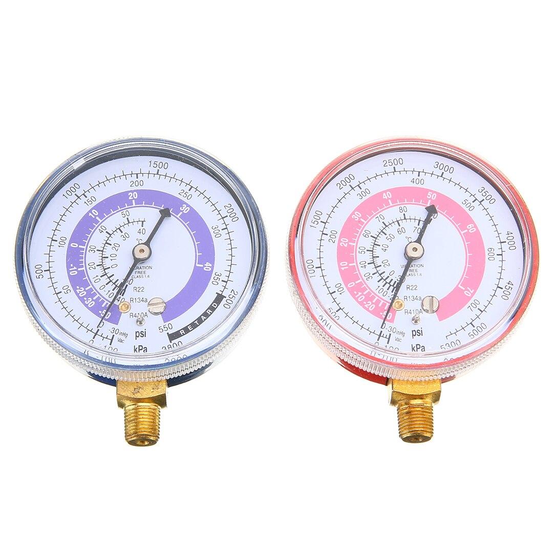 1 para Klimaanlage Kältemittel R134A R22 R410A High Low Manometer Rot Hohe Manometer & Blau Niedrigen Druck gauge
