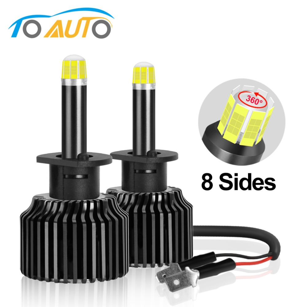 H1 H7 Led 360 degree Car Headlights Bulbs 3D 8 Sides 15000LM Canbus 50W 6000K White