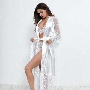 Image 2 - Ellolace vêtements de nuit dentelle chemises de nuit femmes à manches longues Sexy soie nuisette grande maison vêtements avec ceinture Robe ensembles nuisette en gros