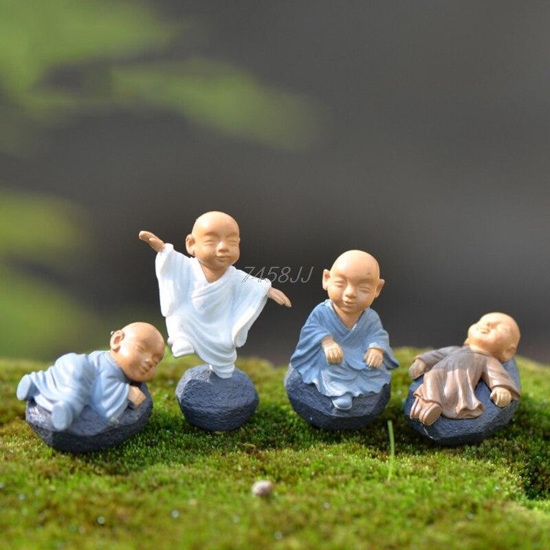 Monk Figure Ornaments Kung Fu Doll Toy Mini Dollhouse Bonsai Garden Decor Gift G06 Drop Ship